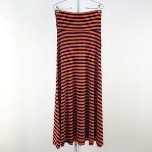 LuLaRoe Blue & Orange Striped Maxi Skirt